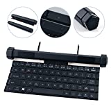 GLE2016 Foldable Bluetooth Keyboard Rollable Wireless Keyboard Bluetooth Speaker for Tablets, iPhone, iPod, iPad, Samsung, Android and iOS Devices (Black)