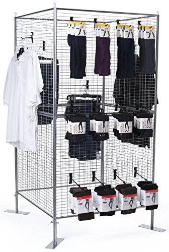 Displays2go Wire Grid Panel for Artwork, Iron Metal Construction, Powder Coated – Silver Finish (AD4PNLS) by Displays2go (Image #1)