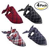 #5: Dog Bandana,[4 Pack] Cotton Plaid Machine Washable Triangle Bibs Scarfs Accessories Set for Small to Large Dog/Cat
