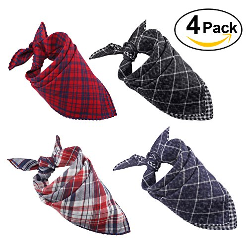 51Y5i75f6VL - Dog Bandana,[4 Pack] Cotton Plaid Machine Washable Triangle Bibs Scarfs Accessories Set for Small to Large Dog/Cat