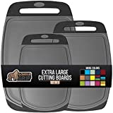 Gorilla Grip Original Oversized Cutting Board, 3 Piece, Juice Grooves, Larger Thicker Boards, Easy Grip Handle, Perfect for The Dishwasher, Non Porous, Extra Large, Kitchen, Set of 3, Black Gray