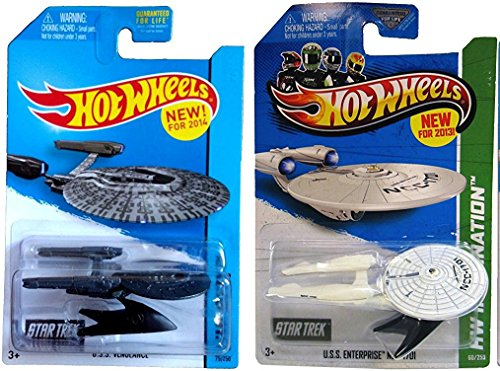 2 Star Trek Hot Wheels Set USS Enterprise Star Ships & US...
