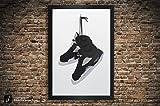 Air Jordan 5 'Black Metallic', 'White Metallic', 'Grape', 'Fire Red' Illustration, Vintage Hanging Kicks - Sneaker Wall Art - 11' x 14', 12' x 18', 13' x 19', 18' x 24', 24' x 36'