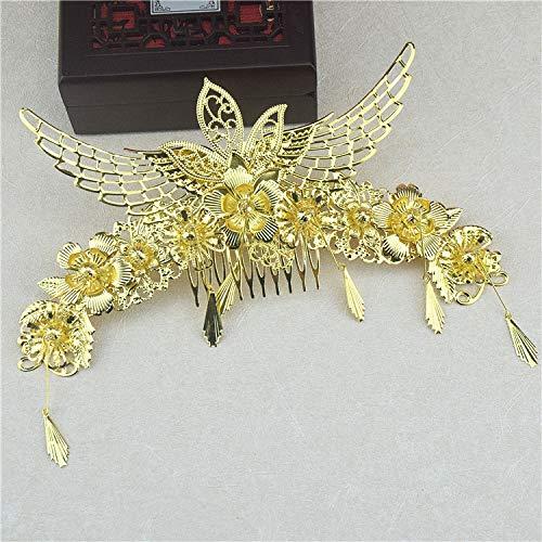 OLIJU Coronet Costume Hair Styling Accessories Bride Clip Jewelry xiu Toast Golden Chinese Dress Wedding Marriage Vintage (Headwear Single]()