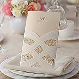 Doris Home Vertical Laser Cut White Hollow Flora Wedding Invitation with envelopes,100 pcs CW060