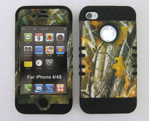 Silicone Case for Apple iPhone 4 4S Oak Camo with Black Skin