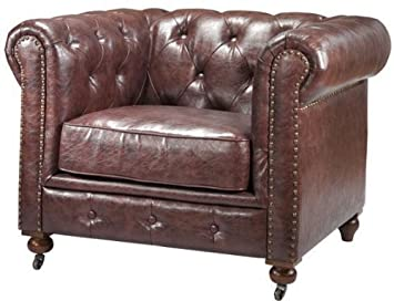 Home Decorators Collection Gordon Tufted Chair, 32 Hx42.5 Wx38.25 D, Brown