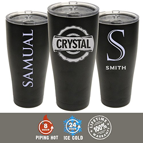SIC Tumbler Cup - Personalized Groomsmen and Bridesmaid Gifts - 20 oz Powder Coated Cups with Double Walled Vacuum Sealed - Style Choice (Black)