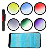 DSTE Large Filter Wallet + Lens Cleaning Pen + 6pcs 77mm Graduated Color Lens Filter Kit Set (Red, Blue, Yellow, Green, Purple, Gray ND Filters) For DSLR Cameras