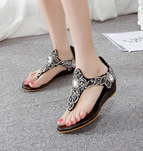 NiSeng Mujer Piedras De Strass Sandalias Bohemia T-Strap Clip Toe Sandalias Verano Casual Peep Toe Sandalias Negro