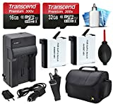 48GB MicroSD Memory + Travel Case + AHDBT-401 Replacement Battery (2 Pack) + Car & Travel Charger + Dust Removal and Cleaning Kit for GoPro HERO4 Hero 4 Black Silver Camera Camcorder