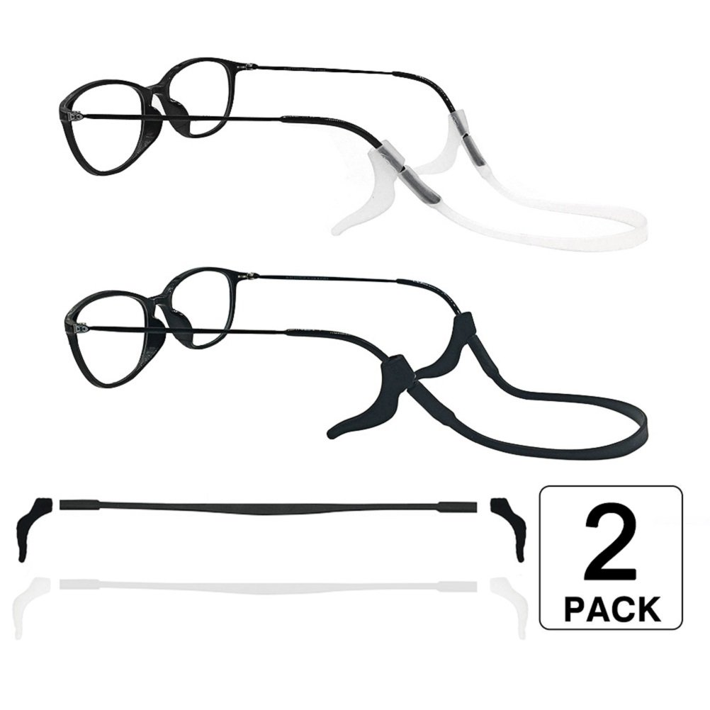 2 Sets Of Silicone Glasses Strap And Eyeglasses Temple Sleeve Suitable For Both Adults And Children, Safe Eyewear Retainers, Soft Silicone Anti-Slip Holder For Eyewear(Black & White) LUFF