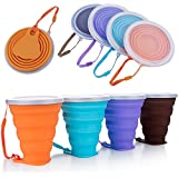 ME.FAN Silicone Collapsible Travel Cup - Silicone Folding Camping Cup with Lids - Expandable Drinking Cup Set - BPA Free, Portable, Graduated [9.22oz]