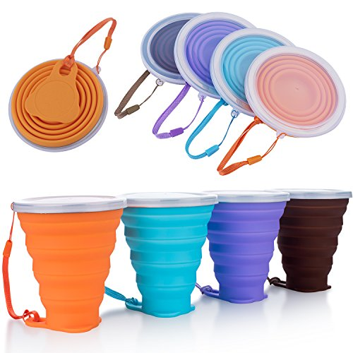 ME.FAN Collapsible Travel Cup - Silicone Folding Camping Cup with Lids - 4 Pack Expandable Drinking Cup Set - BPA Free, Portable, Graduated in Bright Colors[9.22oz] ()