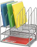 DecoBros Mesh Desk Organizer with Double Tray and 5 Upright Sections, Sliver Picture