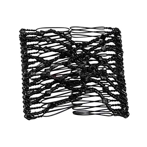 Stretch Beaded Hair Combs Double Magic Slide Metal Comb Clip Hairpins for Women Hair Styling (Black)