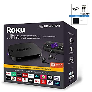 Roku Ultra Streaming Media Player 4K/HD/HDR | Premium JBL Headphones | Enhanced Voice Remote W/TV Controls and Personal Shortcuts W/HESVAP 3in1 Accessories