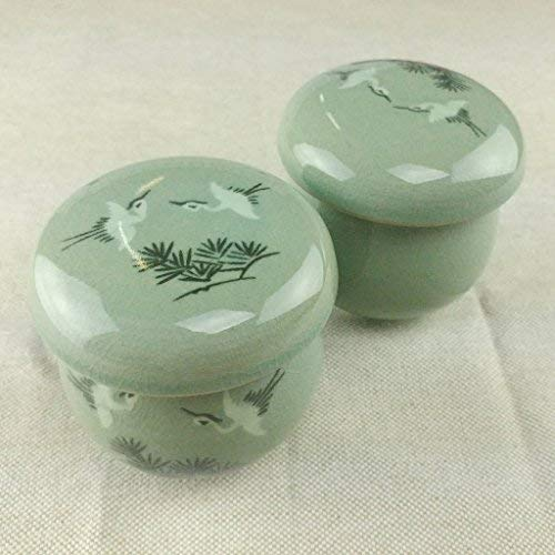 Korean Infuser Cup Saucer/Set of 2 /Pinetree Crane/Hand-crafted