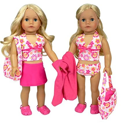 05cf4cc47 Amazon.com: Sophia's 18 Inch Doll Bathing Suit 6 Piece Set, Fits 18 Inch American  Girls Dolls & More! 2 Pc. Bathing Suit, Skirt, Sandals, Beach Bag, ...