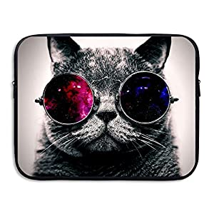 Business Briefcase Sleeve Cat With Sunglasses Pattern Laptop Sleeve Case Cover Handbag For 15 Inch Macbook Pro / Macbook Air / Asus / Dell / Lenovo / Hp / Samsung / Sony