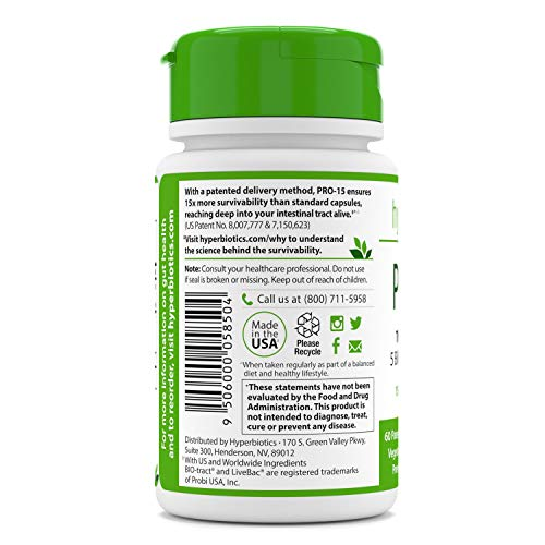 Hyperbiotics PRO-15 Probiotics—60 Daily Time Release Pearls— Digestive Supplement Formula—15x More Survivability Than Capsules—Patented Delivery Technology—Easy to Swallow
