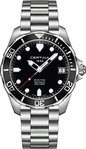 Certina DS Action - 3 Hands Black Dial Stainless Steel Mens Watch C0324101105100