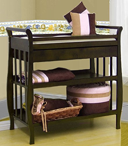 Changing Table Island (Solid Hardwood 3 Tiers Drawer & Baby Infant Changing Table W/ Pad 3353 Nadia New)
