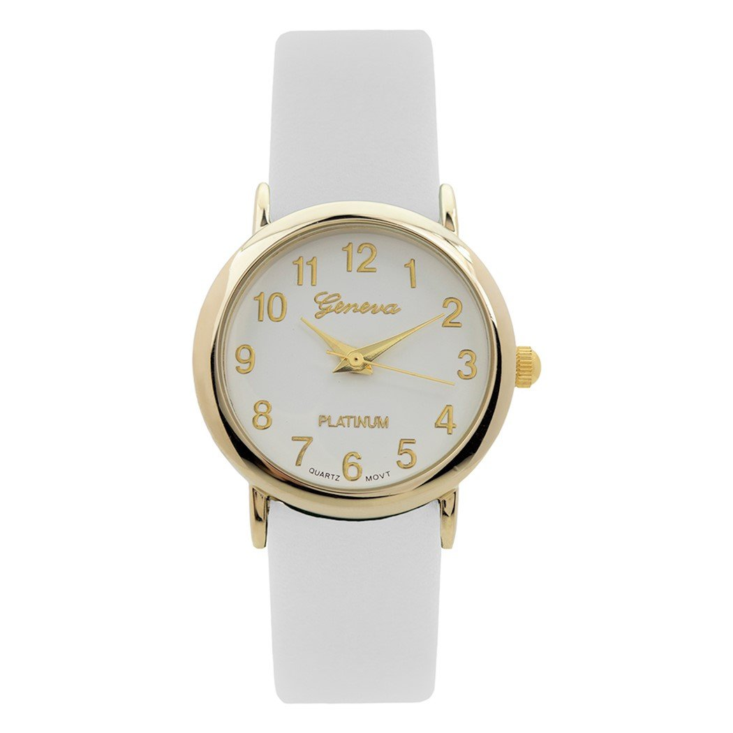 Amazon.com: Rosemarie Collections Womens Leather Band Geneva Fashion Watch (White): Jewelry