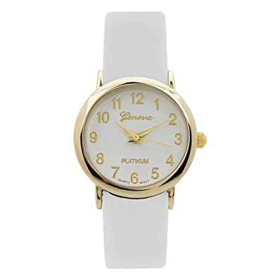 Rosemarie Collections Womens Leather Band Geneva Fashion Watch (White)
