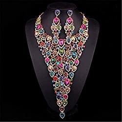 Multicolor Crystal Necklace And Earrings Set