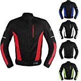Mesh Motorcycle Jacket Textile Motorbike Summer Biker Air Jacket CE ARMOURED BREATHABLE (XXX-Large, Red)