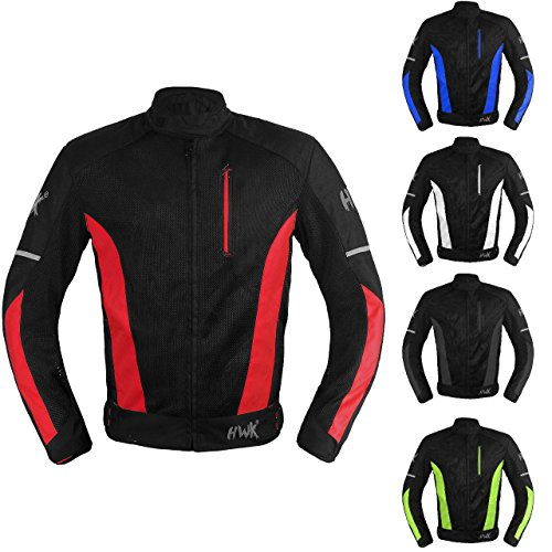 Mesh Motorcycle Jacket Textile Motorbike Summer Biker Air Jacket CE ARMOURED BREATHABLE (Large, Red)