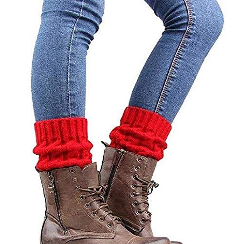 Wiwi.f Calcetines De Punto Colorblock Brazalete Bicolor Leggings Piernas Cortas Calentadores De Pierna De Mujer 1 Par