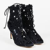 Manolo Blahnik Womens Black Suede Cut Out Lace up Kahika Ankle Booties SZ39.5
