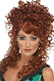 Smiffys Women's Long and Curly Auburn Wig, One Size, Saloon Girl Wig, 42243