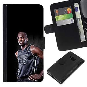 Miami 50 Baloncesto - la tarjeta de Crédito Slots PU Funda de cuero Monedero caso cubierta de piel Para HTC One M7