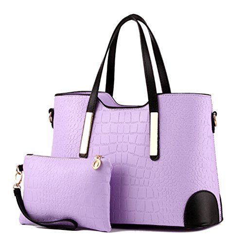 Pieces Set Women's beginning purple Bag Large with Matching taro capacity Auspicious Wallet 2 Purse g6vqP