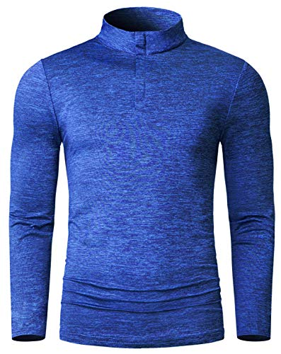 Derminpro Men\'s Quarter Zip Dri Fit Long Sleeve Lightweight Golf Shirts Athletic T-Shirt Sapphire Medium