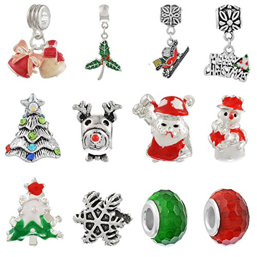 (Souarts Mixed Christmas Charms Pendants for Necklace Making (12pcs european charms))