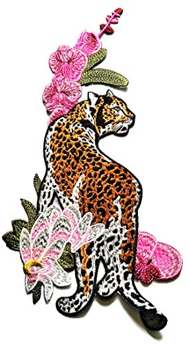 """12.5"""" X 6.5"""" Large Jumbo Facing Right Tiger with Flowers Beautiful Patch Logo Jacket t-Shirt Jeans Polo Patch Iron on Embroidered Logo Motorcycle Rider Biker Patch by Tour les jours Shop"""