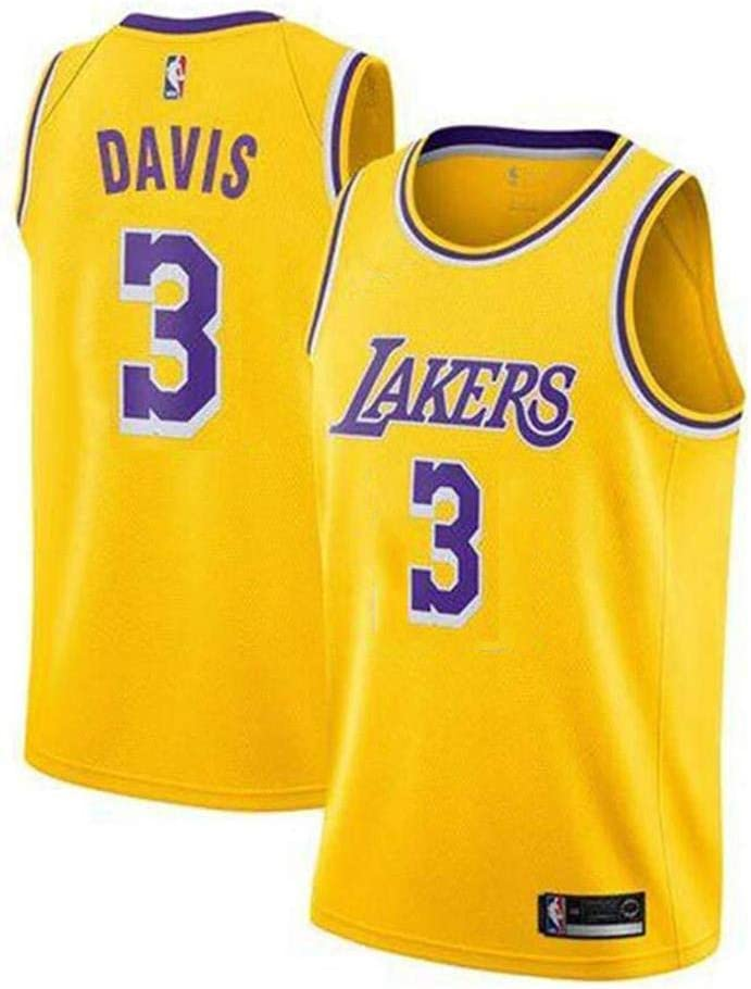 S - XXL 2019 Trikot Herren Sport Jersey Lakers #3 Anthony Davis Basketball Anzug Basketball-Bekleidungssets F/ür Herren Tops Weste F/ür Basketballfans