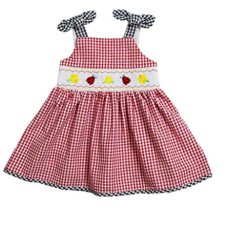 (Good Lad Toddler Girls Red Seersucker Smocked Sundress with Ladybug Embroideries (2T))