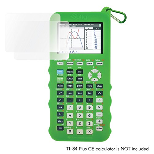 Silicone Case for Ti 84 Plus CE Calculator (Green) w/ 2 Screen Protectors & 1 Carabiner - Texas Instruments Ti-84 Graphing Calculator Cover - Silicon Skin Protective Cases - Texas Accessories by Sully