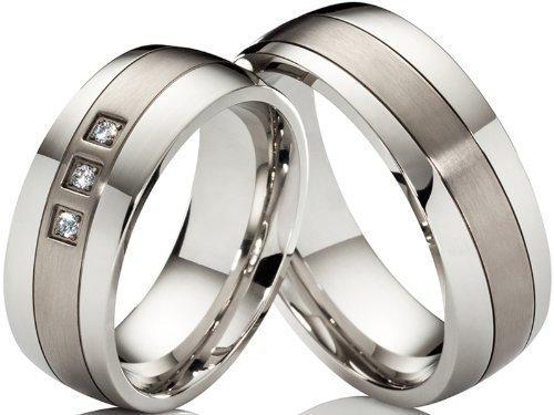 2 alianzas de póster con anillos de compromiso anillos de acero inoxidable y titanio con 3