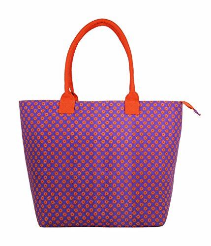 Bolso grande de lona para llevar al hombro, para mujer, totalmente forrado, ligero, para llevar la compra, para la playa y para vacaciones Multicolor Denim Black Large Wallflower Purple