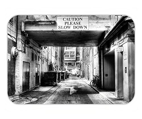 Minicoso Doormat City Caution Please Slow Down Sign on Passage Town Old Fashion Urban District Scenery Black and - Fashion 80's Urban