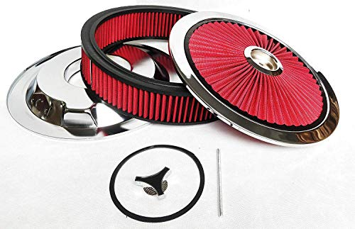 A-Team Performance High Flow Replacement Air Cleaner Assembly w/Flow-Thru Lid Washable and Reusable Round Air Filter Element Kit Includes Star Wing Nut Compatible with Chevrolet GMC Ford 14