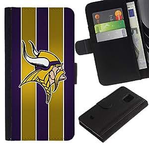 Vikingos Equipo deportivo - la tarjeta de Crédito Slots PU Funda de cuero Monedero caso cubierta de piel Para Samsung Galaxy S5 Mini (Not S5), SM-G800