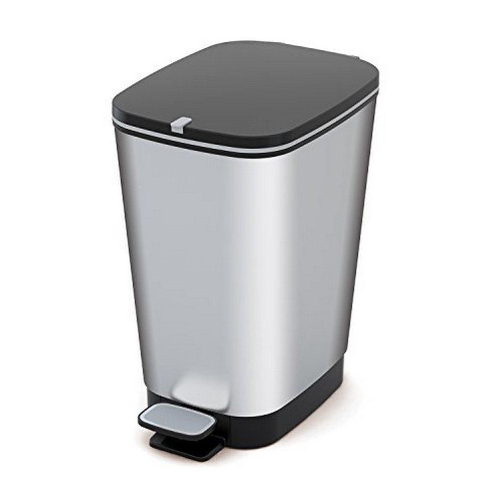 Kis 8071800 1783 01 Abfallbehälter Chic, 25 L, Plastik, Silber, 26,5 x 40,5 x 45 cm 8071800178301_Steel