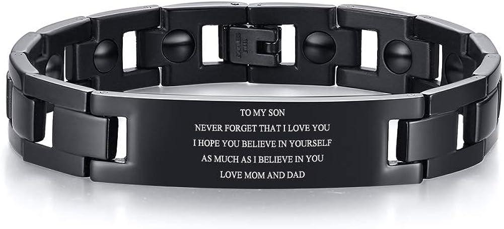 MEALGUET to My Son Bracelet Black Stainless Steel Hematite Link Bracelet Encourage Inspirational Birthday Gift from Dad Mom,8.2